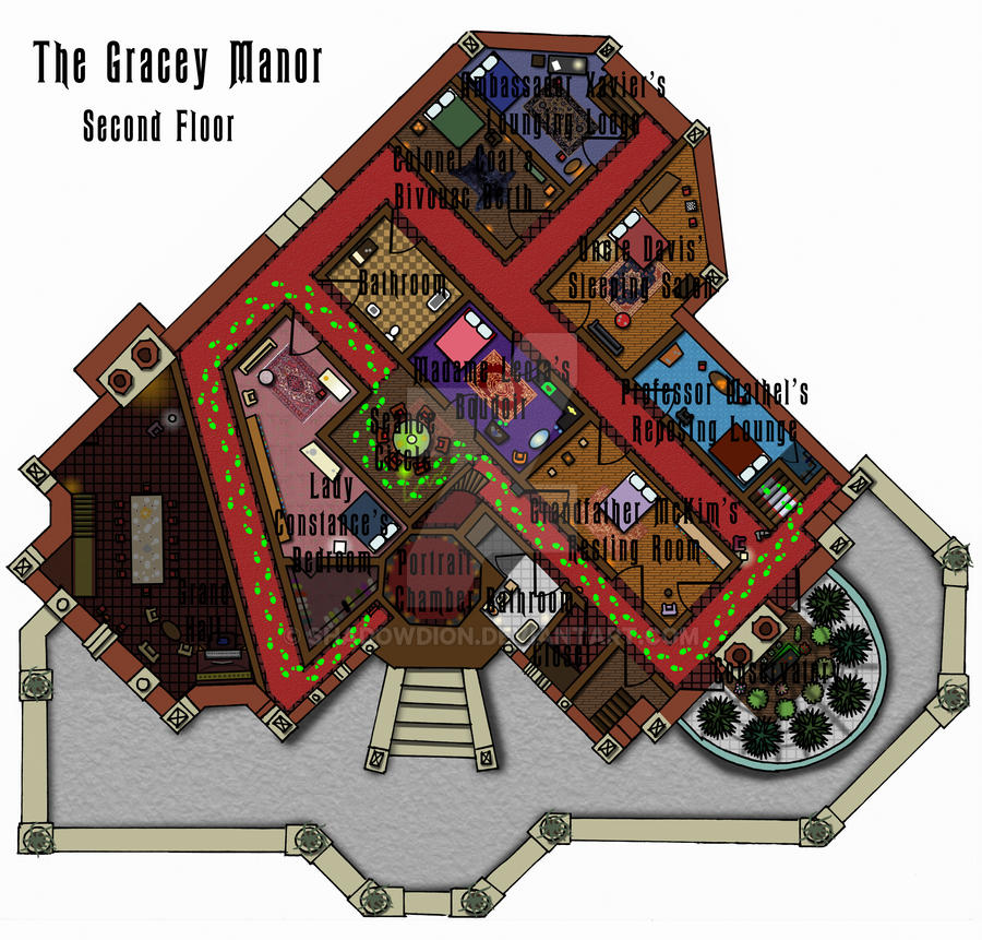 Haunted Mansion Second Floor Plan by shadowdion