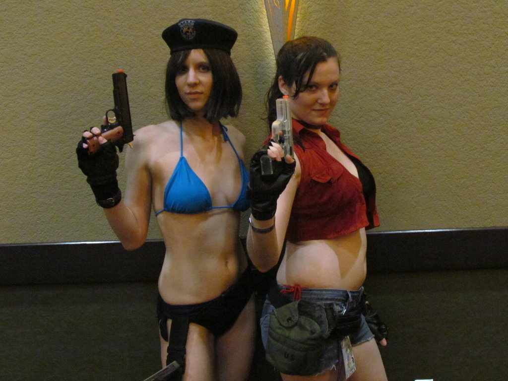 Swimsuit Jill Valentine and Claire Redfield by Sheikahchica