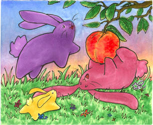 Pillow Bunnies with Peach by arilla