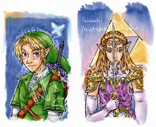 Link and Zelda Sketchcards by arilla