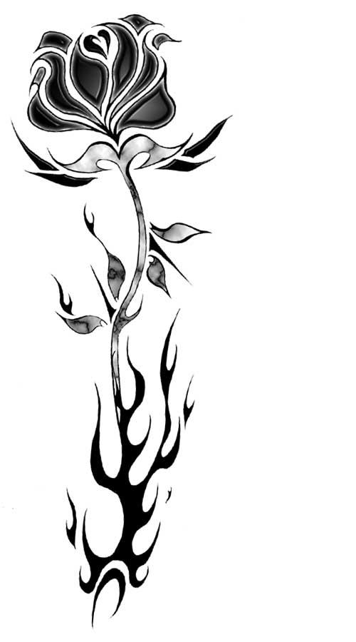 Black rose and flame by gloomfang on deviantart for Black and white flame tattoo