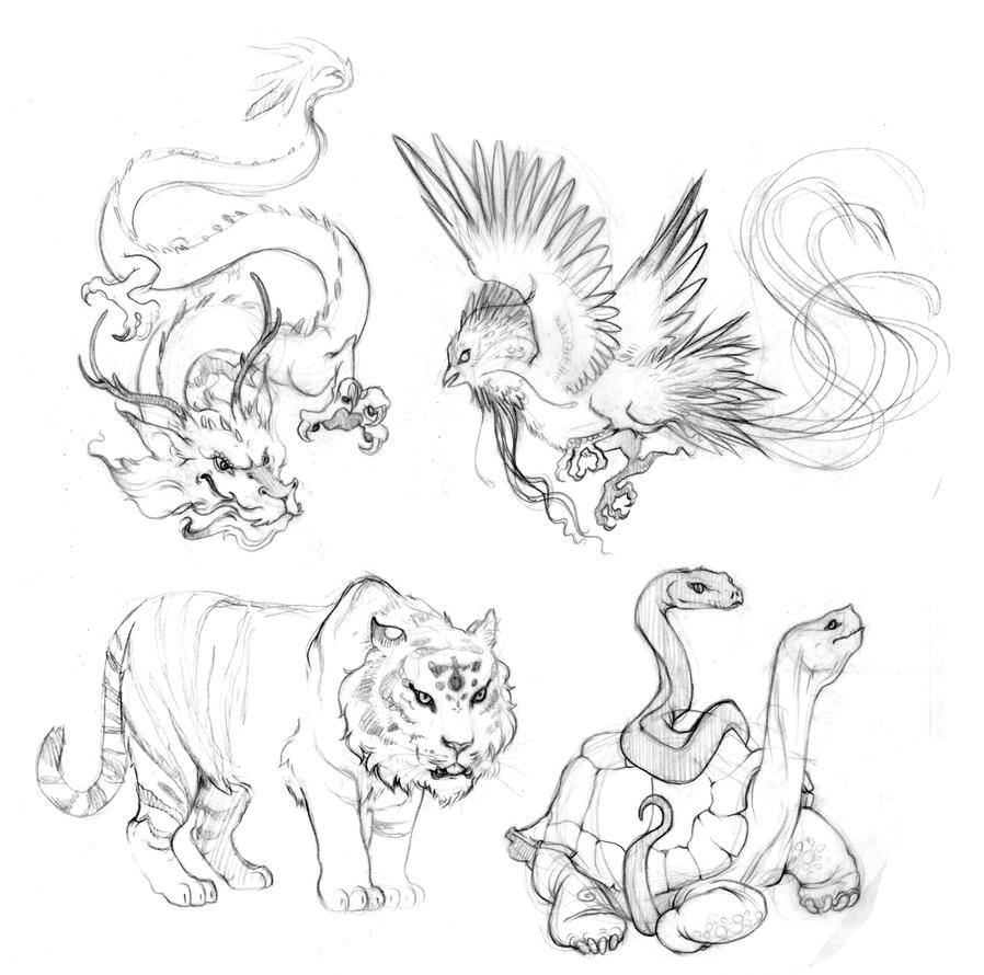 Chinese Element Animals Sketch By Rintau On Deviantart