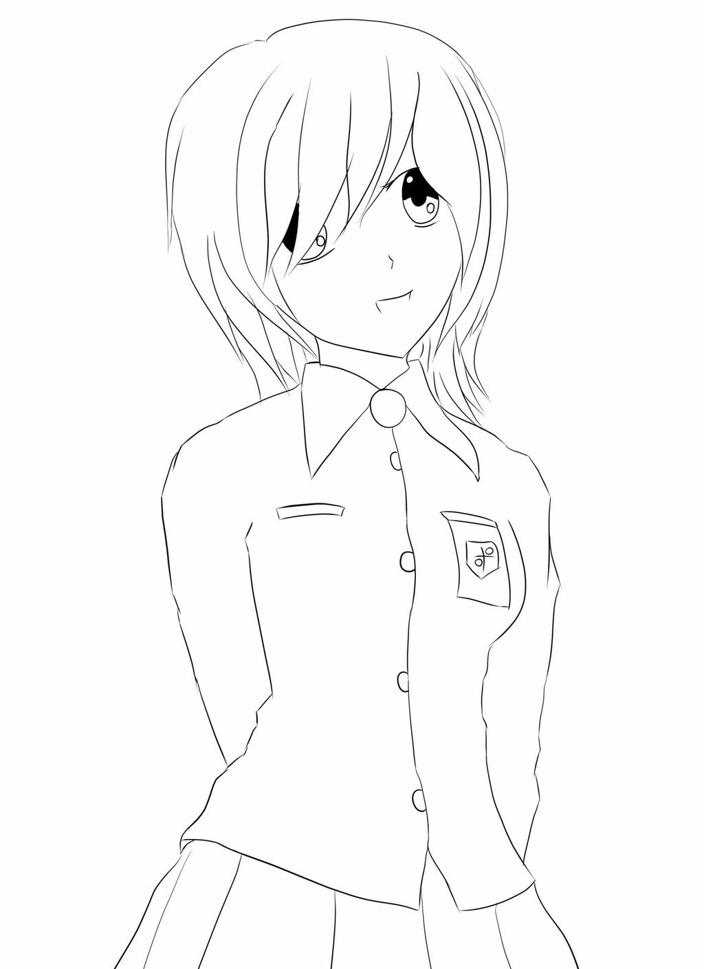 Anime Girl Lineart : Wip manga girl lineart by sebvan on deviantart