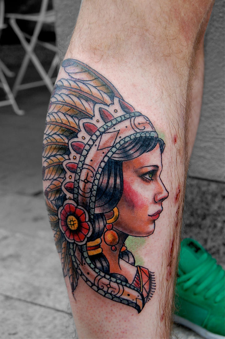 Indian girl by tattooneos on deviantart for Indian woman tattoo