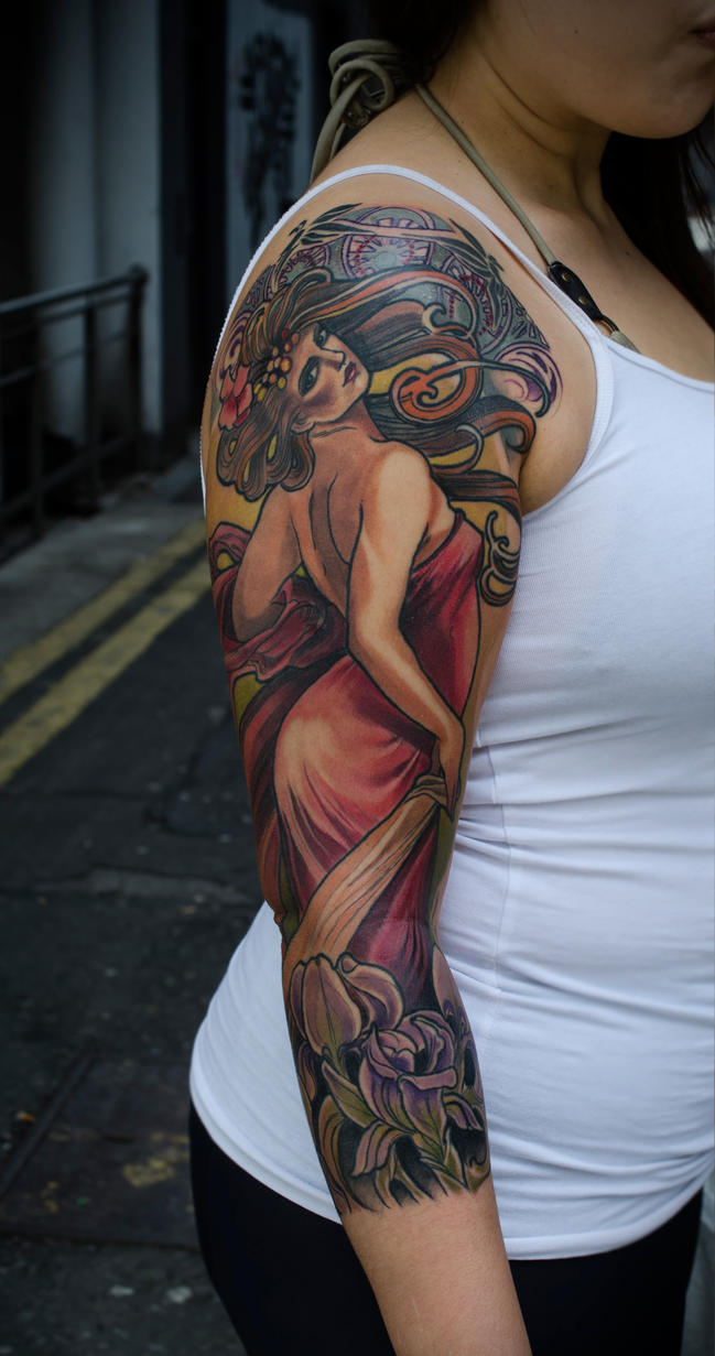 Alphonse Mucha Flower Tattoo | www.imgkid.com - The Image ...