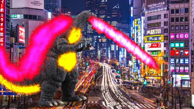 Burning Godzilla attacks Tokyo