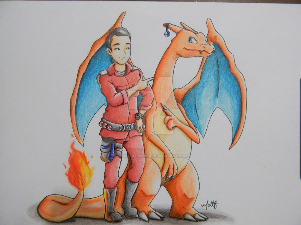 Pokemon Ranger and Charizard . Comission by Matelsferreira