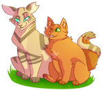 [Warrior Cats-tober] Longtail/Firestar by mechafeline