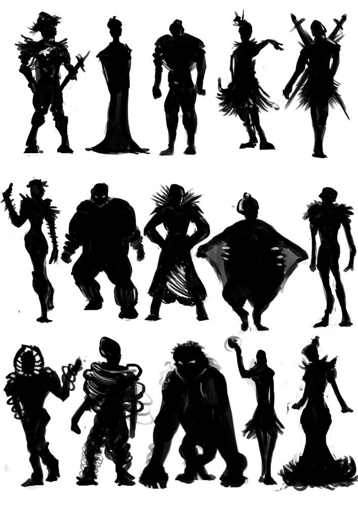 Razas Activas y su Convivencia Character_silhouettes_by_kovah-d3b8wmx