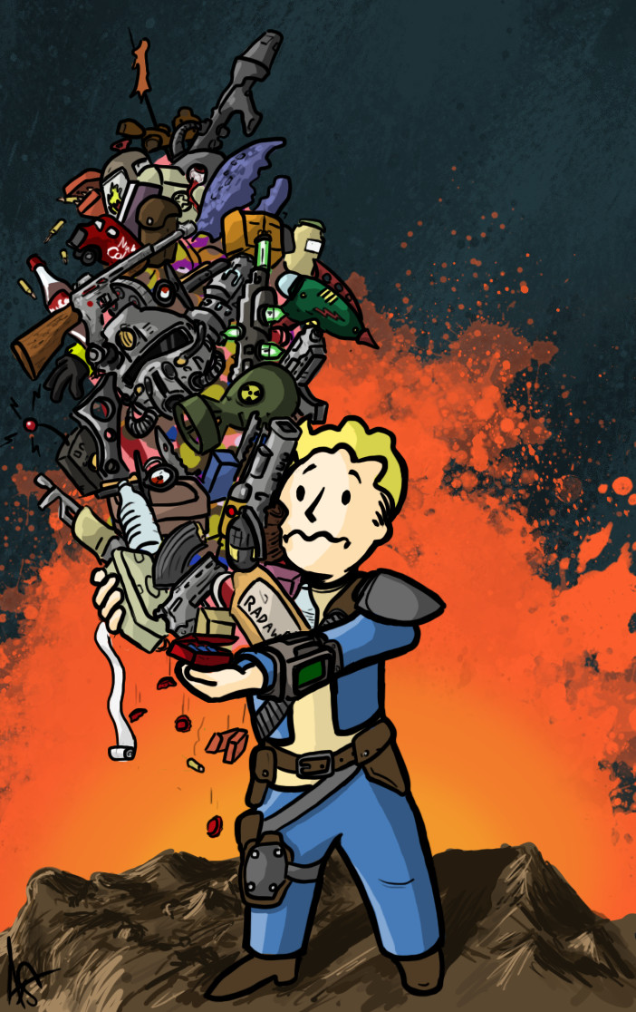 Fallout you 39 re over encumbered by jipojip on deviantart for Fallout 4 mural