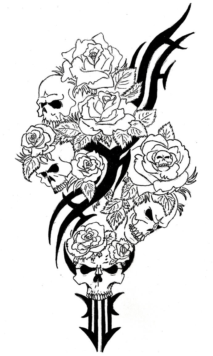 skull and roses coloring pages - rose with skulls by conter565 on deviantart
