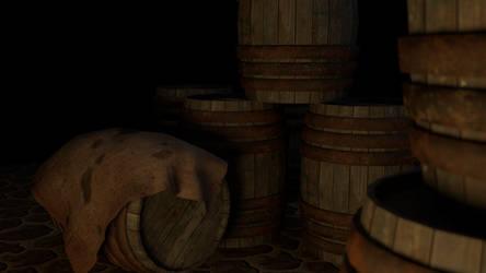 Barrels in a gloomy cellar