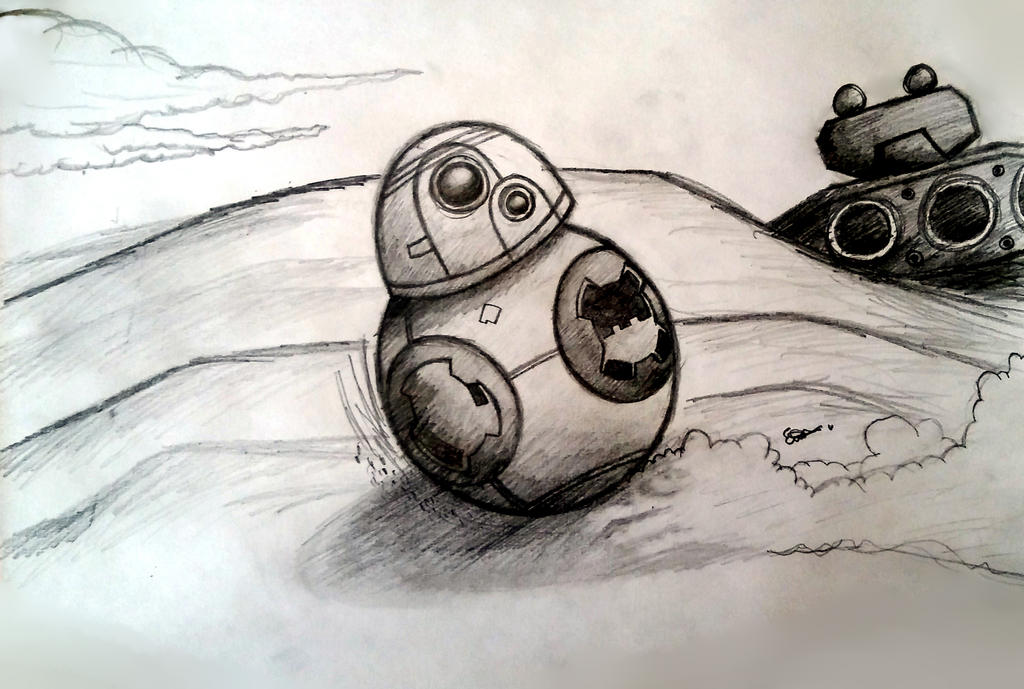 bb 8 on jakku drawing by bubbleyknight