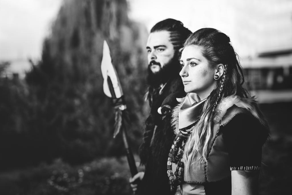 Aloy And Rost Cosplay Black And White By Tynacosplay On