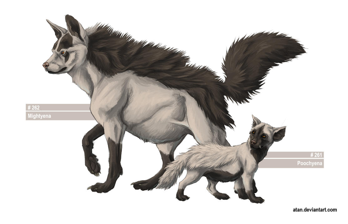 Realistic Poochyena Poochyena and Mightyena by