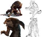 Werewolf sketch and speedpaint dump
