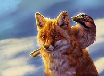 Fox and jay by Atan