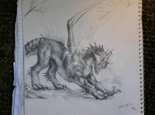 Blue Dragon, stretching, BnW