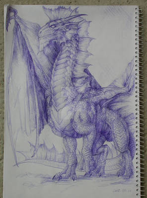 Silver Dragon with blue pen