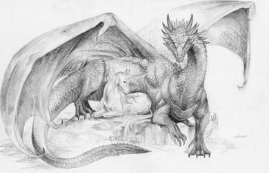 Dragon and Unicorn by BrassDragon