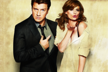 Stana Katic and Nathan Fillion digital art by whatthefawkes