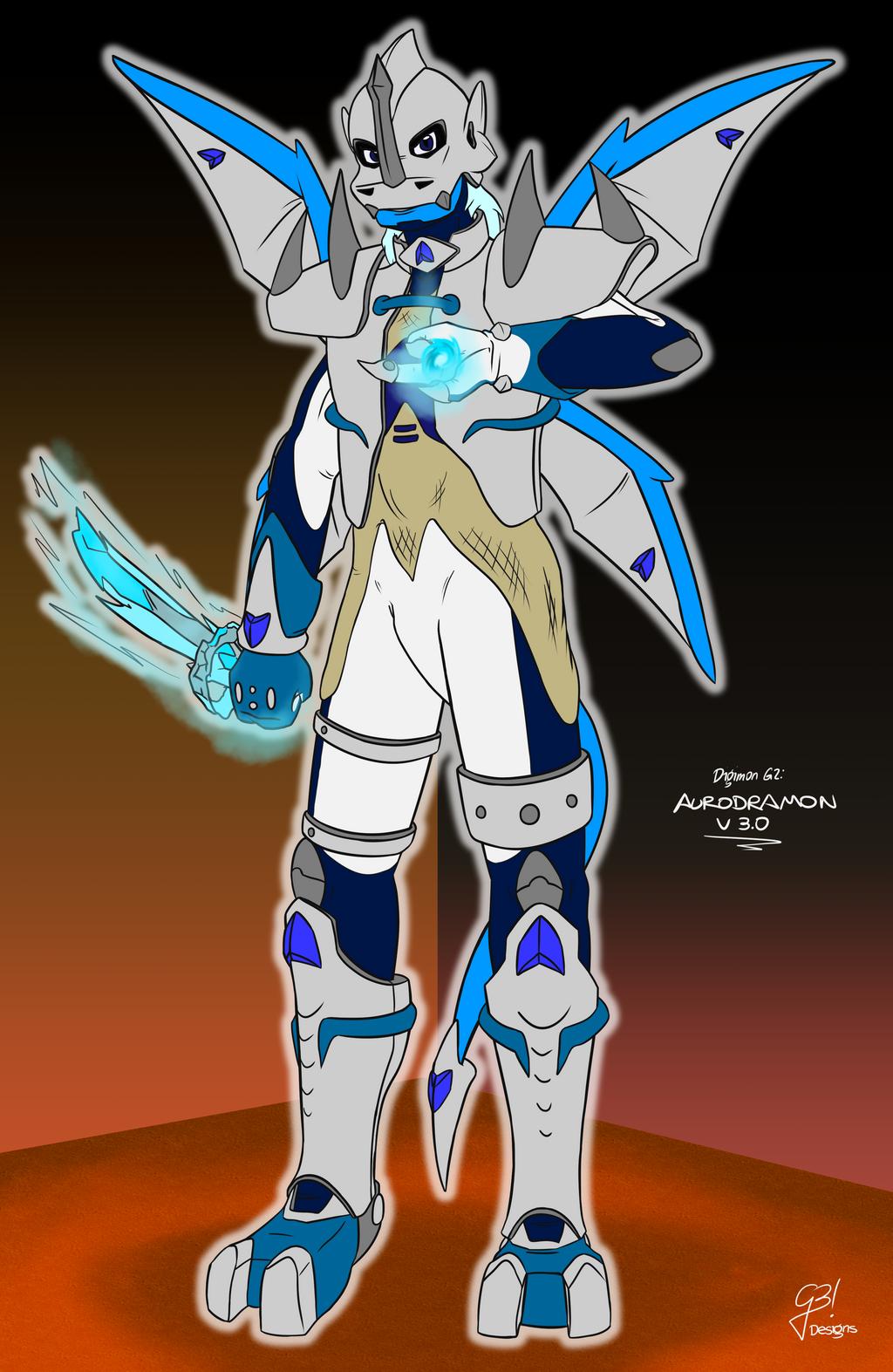 AuroDramon V3.0 | Digimon G2 charflat by G3Drakoheart-Arts