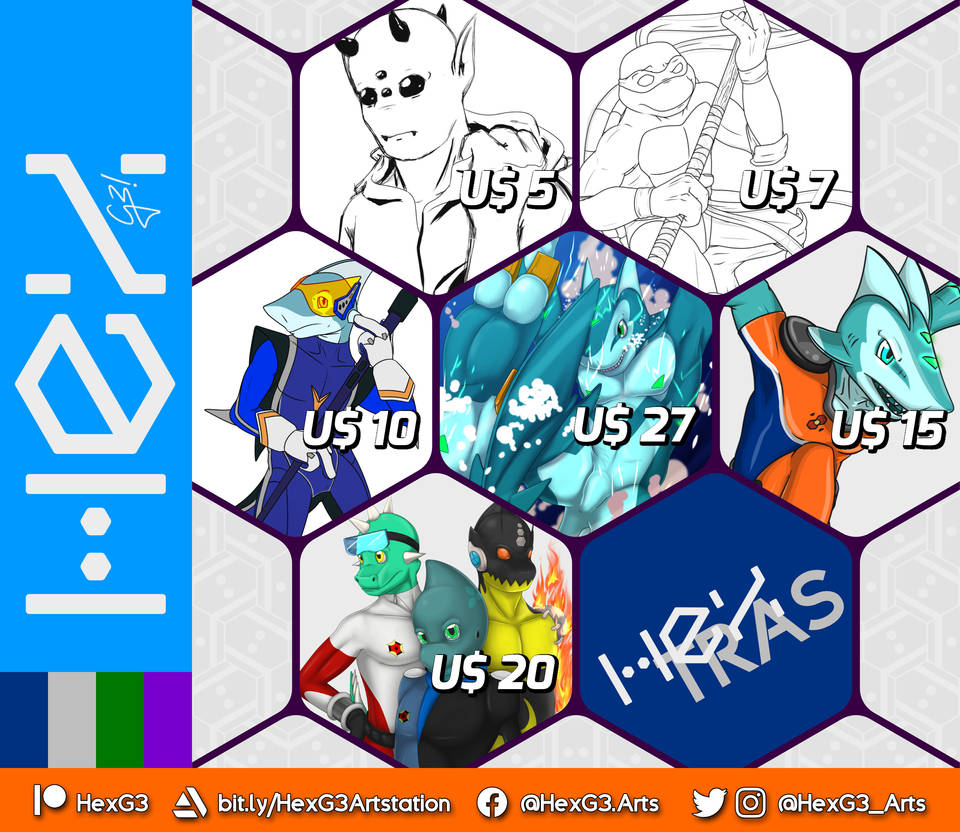 Hex G3! Arts - commission price chart 2020