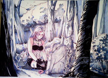 Aki in front of the grave of her beloved