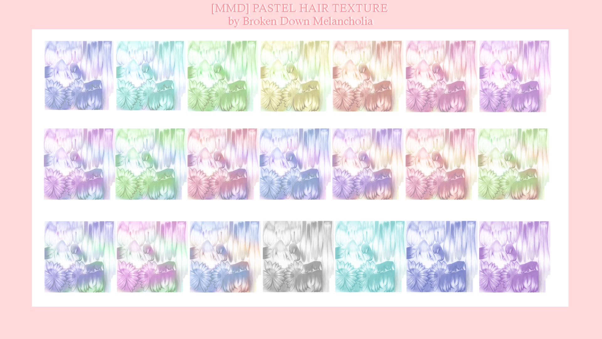 MMD] PASTEL HAIR TEXTURE [DOWN] by BrokenD-Melancholia on