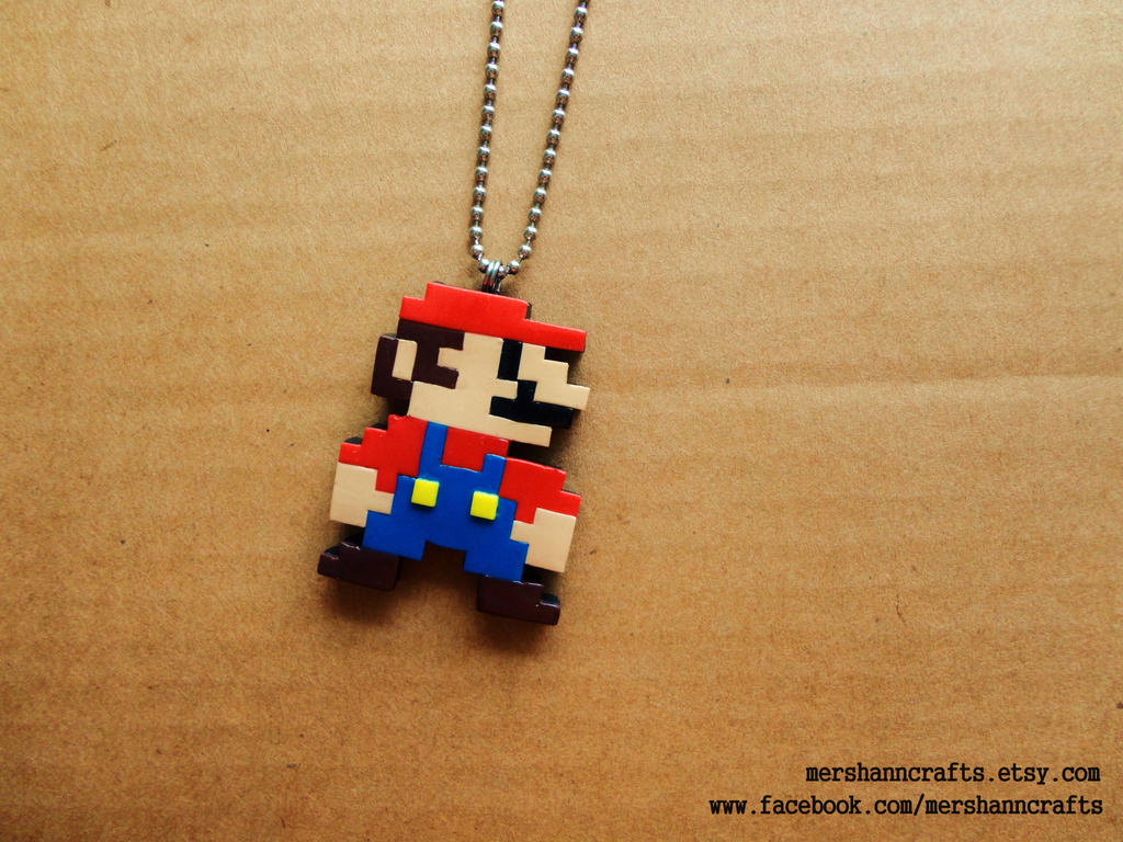 Super Mario 8bit Pixel Necklace by MerShannCrafts on DeviantArt