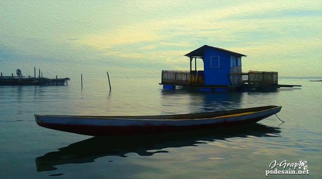 Perahu di pinggir waduk