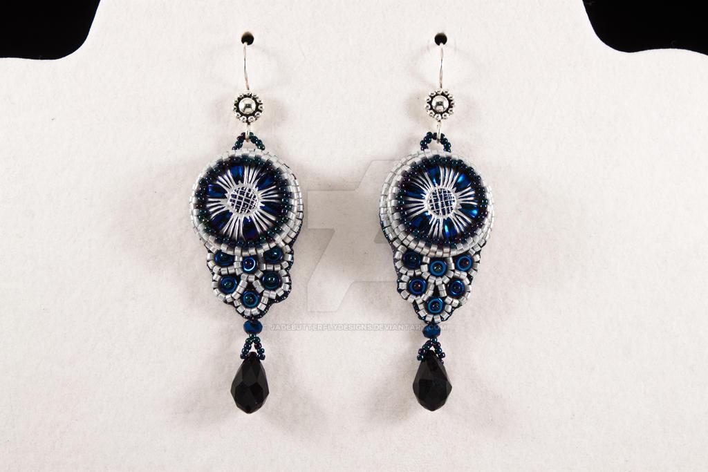Cobalt Flower Earrings by JadebutterflyDesigns