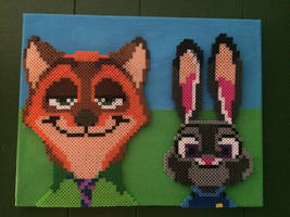 Zootopia Nick and Judy Perler Bead on canvas