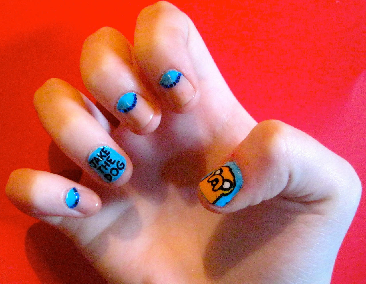 Adventure time nail art jake by hannahxbanana94 on deviantart adventure time nail art jake by hannahxbanana94 prinsesfo Images