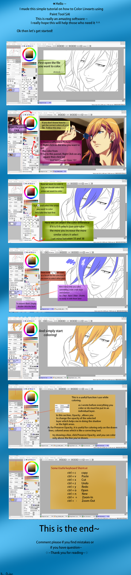 How to Color Linearts using Paint Tool SAI by Diamond-Drops