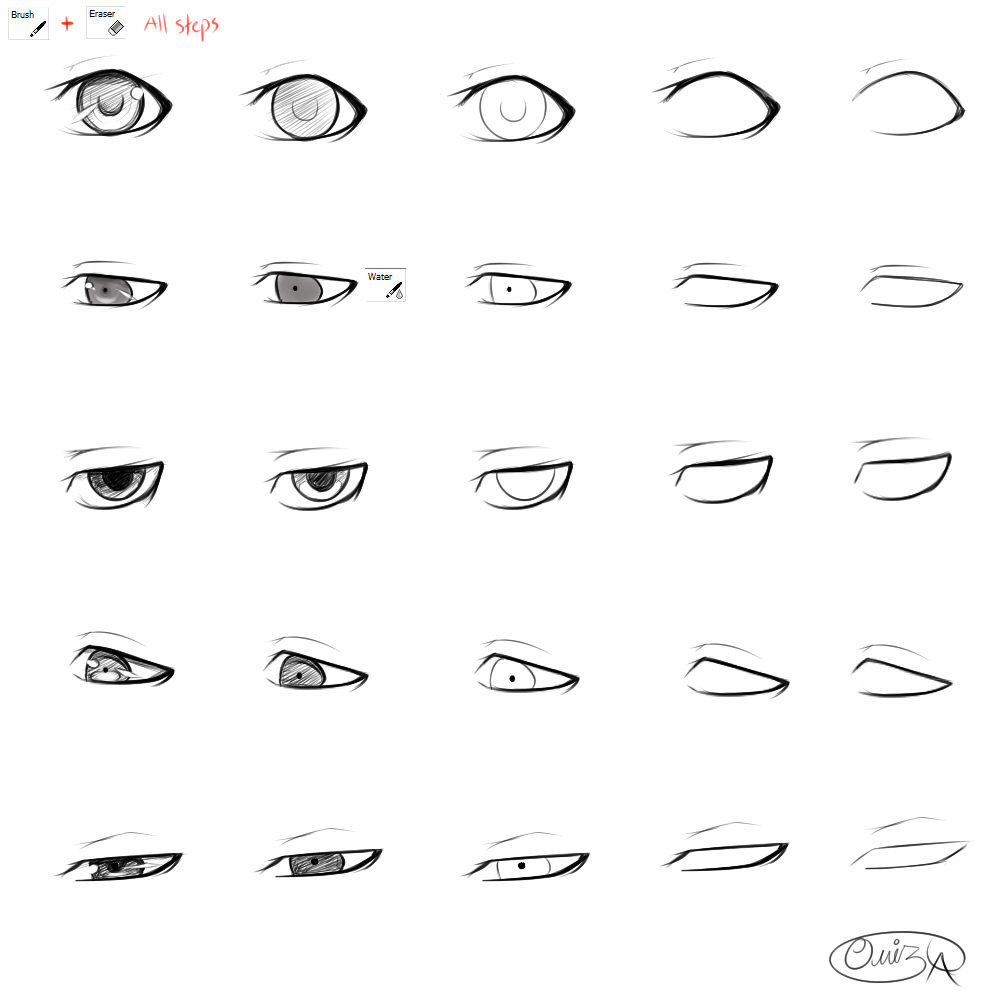 how to draw male anime eyes for beginners sketch coloring page