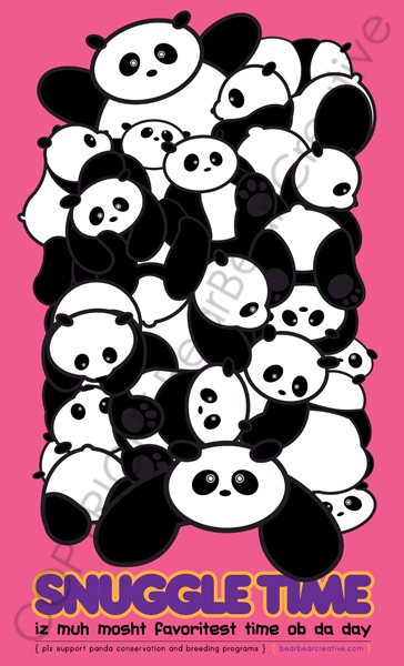 It's Snuggle Time for Pandas by BearBearCreative