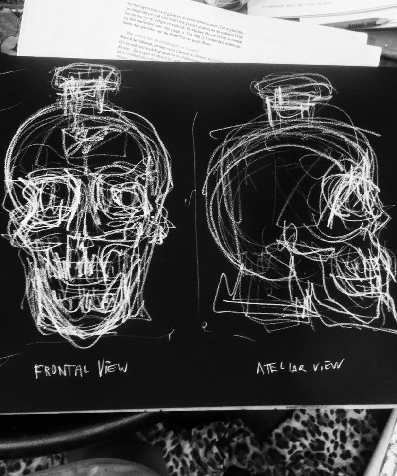 Charcoal quick drawing study of crystal head vodka by CharaSweetCheeks