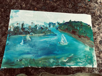 Landscape oil painting at Middle Head, Sydney by CharaSweetCheeks