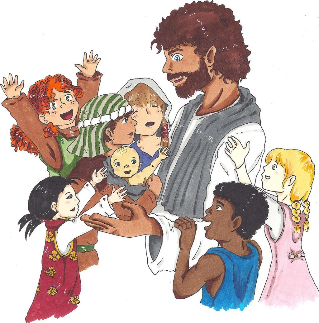 jesus and children by twinpage on deviantart