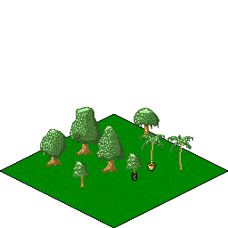 Isometric trees on an isometric tile.