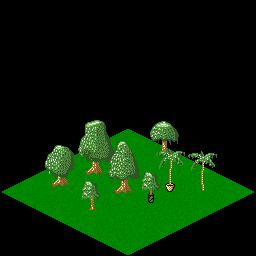 Isometric trees on an isometric tile.