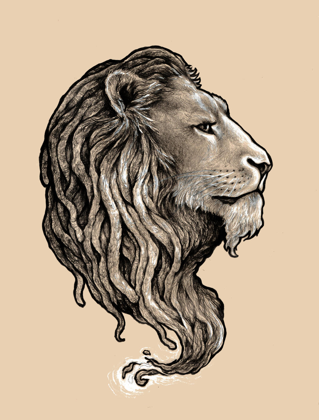 Lion with dreads tattoo drawings - photo#14