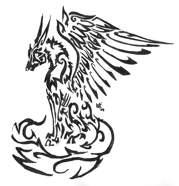 Winged wolf tribal tattoo by skrayle on deviantart for Tribal tattoo shops near me