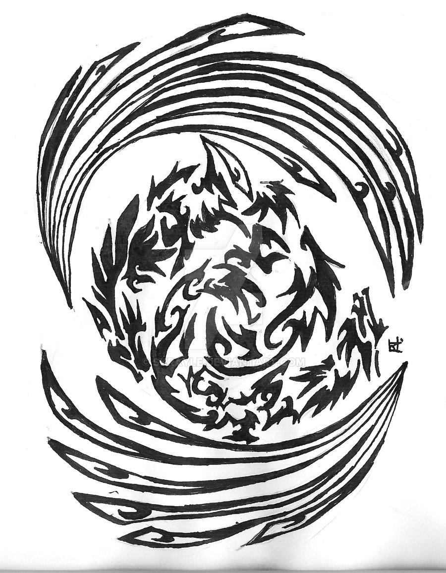 Winged Wolves Tribal Tattoo by Skrayle on DeviantArt
