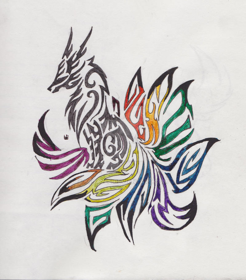 tribal nine tailed fox tattoos - Google Search | tattoos ... |Tribal Nine Tailed Fox Tattoos