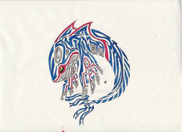 Kyogre Tribal Tattoo 2 by Skrayle