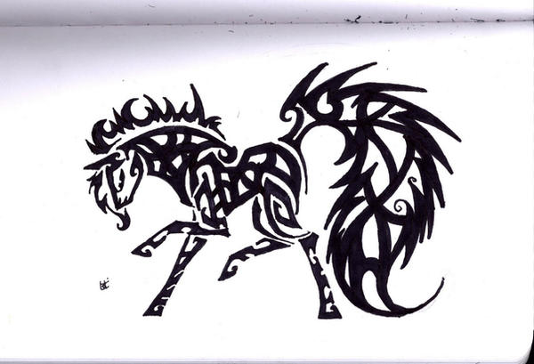 Celtic horse tribal by Skrayle