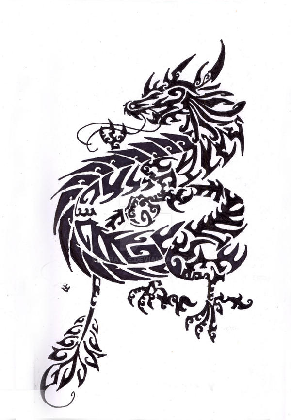 chinese dragon tribal tattoo by skrayle on deviantart
