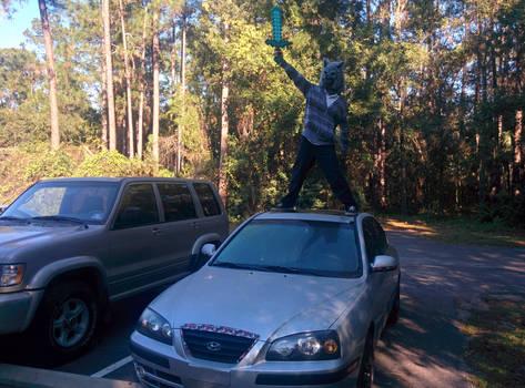 An idiot and his car